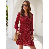 Polka Dot V-neck A-line Dress