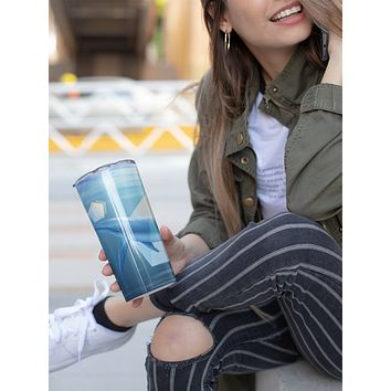 Blue Whale Skinny Tumbler With Stainless Steel Straw Watercolor Ocean Illustrated Whale Gift Idea Travel Mug Cold Hot Vacuum Lid