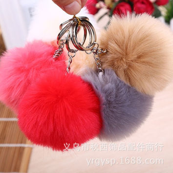 Cute Genuine Leather Rabbit fur ball plush key chain for car key ring Bag Pendant car keychain = 1932700548