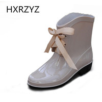 new age season warm fashion boots/free shipping Ladies bow with waterproof non-slip rubber rain boots