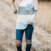 New Blue Striped Print Pockets Round Neck Long Sleeve Casual Country Cowgirl Sweater