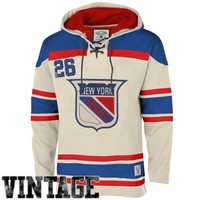 Old Time Hockey New York Rangers Lace Jersey Team Hoodie - Tan