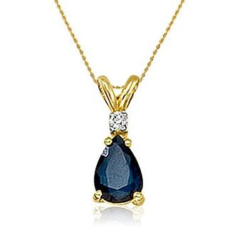 "14K Yellow Gold Pear Shape Sapphire and Diamond Pendant (3/4ct tgw 18"" chain)"