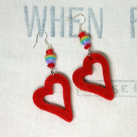 Lightweight Red Felt Heart Earrings with Rainbow Bead Great Valentine's Day Gift Idea
