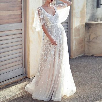 V neck embroidery lace dress women Mesh high waist backless maxi ladies dresses White evening dance party dress vestidos