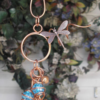 Wind Chimes - Copper & Glass - Dragonfly - Garden Sculpture / Gypsy Window Art Suncatcher Lawn Pond Outdoor Yard Blue