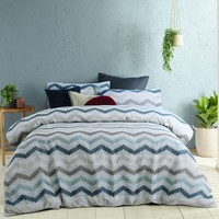 Arlo Blue Jacquard Quilt Cover Set by Accessorize