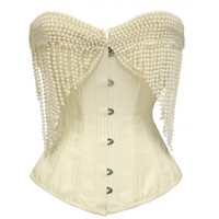 JP-014 - Cream Striped Corset with Pearl Effect Embellishment