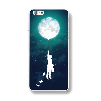 """Transparent Edge Fashion Colorful Moon Balloon Painting Hard PC Mobile Phone Cover Case Shell For Apple iPhone 6 6s 4.7"""" Inch"""