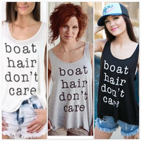 "Four Color Options "" hair don't care"" Sleeveless Cotton Tank Vest Strap Top Shirt a11114"