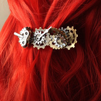 Fantasy Cosplay Steampunk Hair Accessories, Steampunk Bent Gears w/ Windup and Clock Hand, Industrial Steampunk Hair Clip, Windup Hair Clip