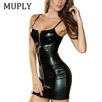 2018 Sexy Women PU Leather Dress Bodycon Midi Office Dress Black Sexy Club Pencil Party Dresses Vestidos Suspenders Club Dress