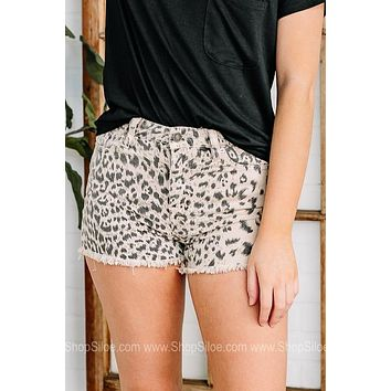Earn Your Spots High Rise Cheetah Denim Shorts