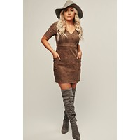 Forever Fave Faux Suede Dress (Brown)