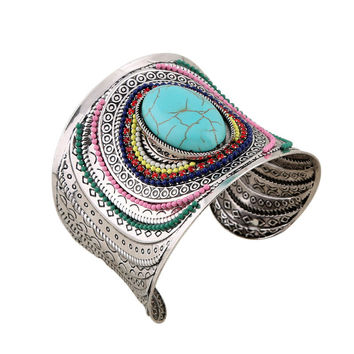 2016 New Ethnic Indian Jewelry Big Individual Open Cuff Bracelet Anqitue Silver Carved Colorful Beads Turquoise Statement Bangle