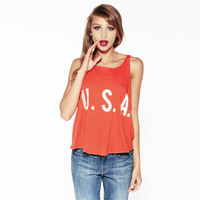 U.S.A. Print Sleeveless Tank Top
