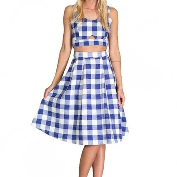 PICKET FENCE GINGHAM CROP TOP - BLUE + WHITE