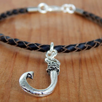 Fisherman's Bracelet, Men's Fishing hook Bracelet, Eco Leather Bracelet, FREE SHIPPING