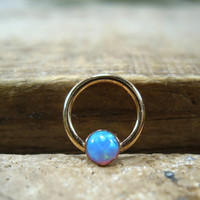 Septum Ring 14k Gold Filled Gemstone Blue Opal