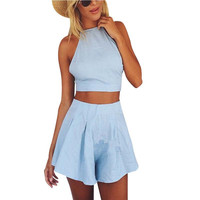 New Fashion Women 2 pieces set crop tops and short pants  Off the Shoulder Sexy Mini Patchwork dress set