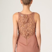 Rowena Lace Panel Exposed Bodycon Dress - Dresses