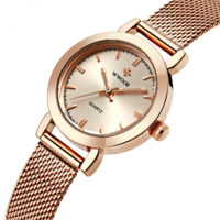Top luxury New WWOOR Rose gold Women waterproof Watch Fashion Lady Dress Casual nets band Quartz Watch Reloje Mujer Relogio Fem