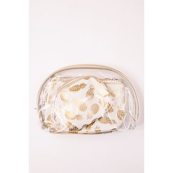 Gold Foil Pineapple Set of 3 Pouches, Gold/Cream