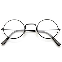 Vintage Inspired Round Metal Frame Clear Lens Glasses 9637