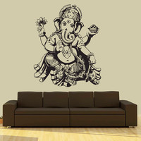 Wall Decal Vinyl Sticker Decals Art Decor Design Elephant Ganesh Indian Buddha Lotos Om God Tribal Pattern Yoga Bedroom Dorm (r669)