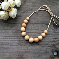 Teething Necklace Crochet Teething Necklace Nursing  Natural Wood Teething Necklace, Mom Necklace, Baby shower Gift for new mom