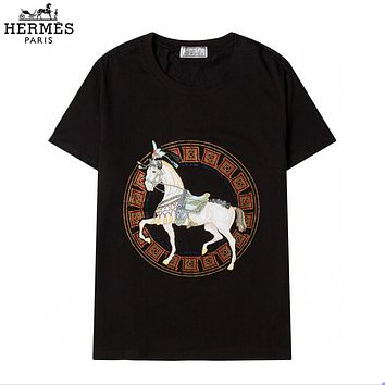 Hermes new fashion men's and women's T-shirts with personalized ring horse pattern short-sleeved top