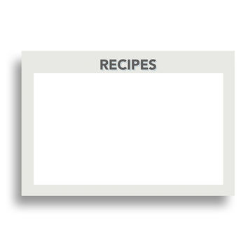Printable Retro Grey Recipe Card Set, 48 Cards, 4x6