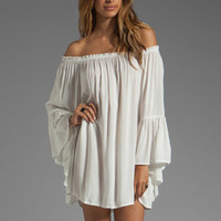 Indah Kamani Ruffle Edge Mini Dress in White from REVOLVEclothing.com