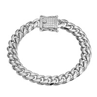 Designer Stainless Steel 14k White Gold Finish 12mm Miami Cuban Link Bracelet New Bling Lock