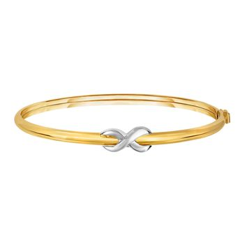 14k Yellow White Gold Polished Oval Shape Fancy Infinity Bangle Bracelets, 7.5""