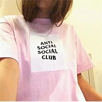 Anti Social Social Club Fashion Print Short Sleeve Tunic Shirt Top Blouse