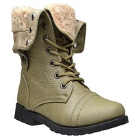 Girls Fur Cuff Combat Ankle Boots Taupe