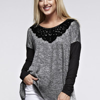 Lace Collar Color Block Top - Charcoal