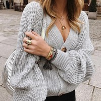 Explosive sweater women's V-neck knit cardigan autumn and winter new coat