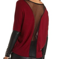 Mesh & Faux Leather Dolman Top by Charlotte Russe - Burgundy Cmb