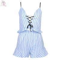 Blue Two Pieces Co-ords V-neck Striped Lace Up Ruffled Crop Top Camis Vest Shorts Beachwear Summer Women Clothing Sets