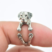 Retro Vintage Labrador Retriever Rings Adjustable Welpen Labrador Cachorro Perro Dog Breed Animal Rings for Women Anel Bague