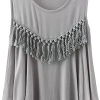 Grey Fringed Flounce Tank Top