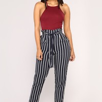 Jacklyn Stripe Pants - Navy/White