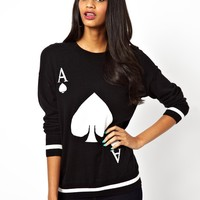 River Island | River Island Ace Of Spades Sweater at ASOS