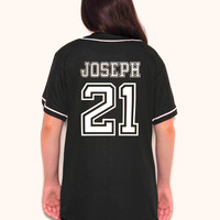JOSEPH 21 Custom Black Baseball Jersey - Twenty One Pilots - Tyler Joseph - 21 Pilots-Baseball Tee-Tumblr Shirt-Twenty One Pilots Shirt-Tyjo