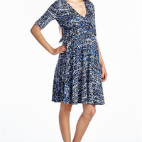 Blue Two Tone Abstract Print  Maternity Wrap Dress