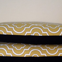 """2 Handmade Pillow Covers - Modern Abstract Print - READY TO SHIP - 12"""" x 20"""" - Pair Yellow, White & Black with Envelope Closure"""