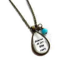 Blame It On The Rain Teardrop Brass Charm Necklace