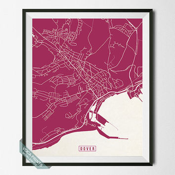 Dover Print, England Poster, Dover Poster, Dover Map, England Print, Street Map, England Map, Office Decor, Home Decor, Wall Art